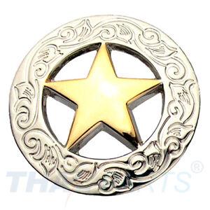 Concho #006 30mm Silbern und Gold Western Texas Stern Star Conchos Concha
