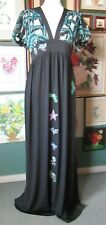 Ladies Vintage Black Maxi Dress With Embroidered Tattoo Design Size 10 / 12