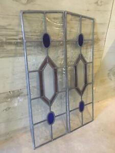 A Pair Of Victorian Style Taper Top Maroon Diamond Patten Stained Glass Panels