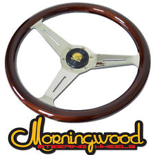 "MORNINGWOOD BROWN/ CHROME STEERING WHEEL 350MM/14"" DEEP DISH CLASSIC P13"
