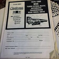 TRANSMISSION QUICK REG PARTS BOOK 1979-86-TURBO HYDRA MV9 CH-OLD-CADD-PON-BU