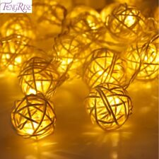 20 Rattan Ball Led String Fairy Lights Lamps Home Decoration Xmas Tree Decor