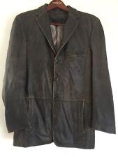 J. Ferrar Soft Brown Distressed Leather Blazer Jacket 3-Button Men's Size Small
