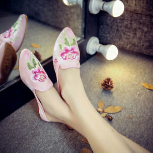 Women Retro Cloth Shoes Chinese Embroidered Satin Slippers Mules Home Shoes