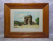Vintage Mid Century Paris L' Arc de Triomphe Framed Lithograph Signed Print