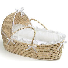 Natural Hooded Moses Basket in White
