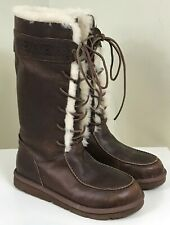 NEW UGG Australia Tularosa Aztec Leather Brown Tall Lace Up Boots Womens 9 UGGS