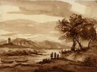 FIGURES CONTINENTAL LANDSCAPE Watercolour Painting c1830 19TH CENTURY GRAND TOUR
