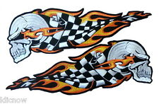 "Flaming Skull Check Flag Back Patches (L/R) 9.5cm x 29cm (11 1/2"" x 4"