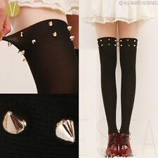 STUDDED SPIKES MOCK OVER THE KNEE TIGHTS - Gothic Punk Rock Rivet High Pantyhose