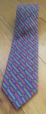 BROOKS BROTHERS MAKERS purple pattern mens silk tie green red loops made in USA