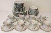 International Silver Co Dinnerware for 8 Springtime White Floral VTG 1960s MCM