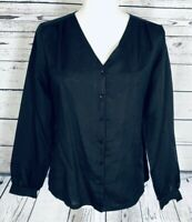 Women's Size 8 Blouse Sears Button Down Black Long Sleeves Silky V Neck