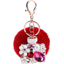 Porte Clé  Bijoux de sac  Rétro voiture   Parfum Pompon rouge strass NEUF