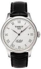 Relojes de pulsera de acero inoxidable plateado de cuero para hombre
