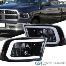 Fit 09-18 Dodge Ram Glossy Black LED Tube Projector Headlights Smoke Head Lamps