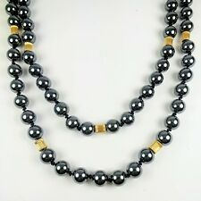 """Vintage 14K Yellow Gold Round Black Hematite Knotted Bead Strand Necklace 36"""""""