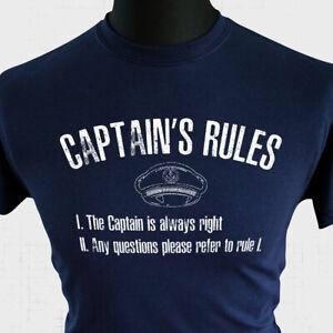 Captain's Rules T Shirt Funny Skipper Boat Joke Tee Sailor Navy Blue