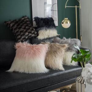 Faux Wool Shaggy Plush Waist Pillow Case Cushion Cover Home Bed Sofa Throw Decor