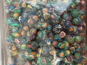 NEW Lot of 100 Polymer Clay Mini MUSHROOM Pendant WHOLESALE Floral Hippy Skull