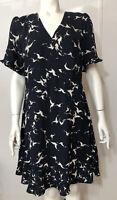 Oasis New Dress Womens Size 14 Navy White Birds Ruffles Asymmetric Button Front