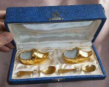 Coffret salerons vintage signés Robj - Sabots porcelaine & cuillères à sel dorés