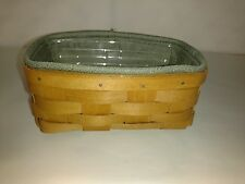 Longaberger Rare Warm Brown Stain Caddy Basket & Prot & Sage liner mint not used