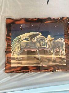 Vintage Sue Dawe Unicorn Wooden Wall Lacquered 1981 Unicorns Stars Love