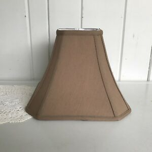 """Cut Corner Square Bell Shade Light Brown Lampshade 12"""" Wide 9 Tall Spider Fitter"""
