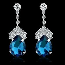 GORGEOUS 18K WHITE G/P BLUE AND CLEAR  AUSTRIAN CRYSTAL LONG DANGLE  EARRINGS