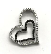 Sterling Silver 925 Round Black Onyx / CZ Channel Set Heart Love Swirl Pendant