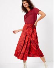 M&S BNWT Per Una Satin Floral Pleated Midi Wrap Skirt Size 12 rrp £49.50