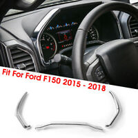 3Pcs Console Dashboard Instrument Box Chrome Cover Trim For Ford F150 2015-2018