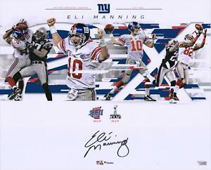 """Eli Manning New York Giants Signed 16"""" x 20"""" Super Bowl Plays Collage Photo"""