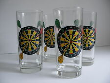 Four Beverage Glasses Dart Board & Darts Italian Game Room Man Cave Home Bar