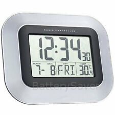 Technoline WS-8005 LCD Digital Wall Clock - Radio Controlled Automatic Time
