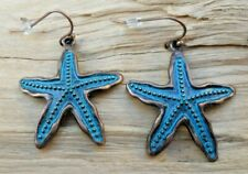 Starfish Copper Effect & Turquoise Antique Style Hook Convex Earrings 2.5cm NEW