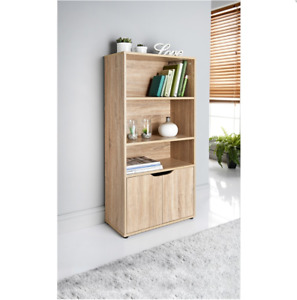 3 Shelves 2 Door Oak Wooden Bookcase Storage Unit Display Cabinet Furniture 0129