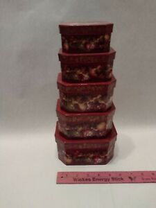Set of six(6) Nested Floral Octagonal Boxes