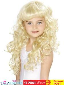 Children闂佽偐鍎ょ敮锟犲春闂佸憡鏌ㄩ妴 Curly Blonde Girls Princess Wig Fancy Dress Costume A...