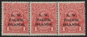 Australia - NWPI (New Guinea) KGV 1d red, Die II, I, I, strip of three - MH/MNH