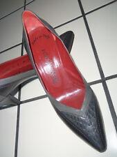 Vtg YSL Yves Saint Laurent Spectator PUMPS Shoes ALL Leather Black & Gray 8 M