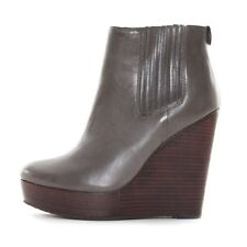 New Michael Kors Women's Emory Ankle Wedge Leather Boots Dark Grey Sz 9 MSRP$225