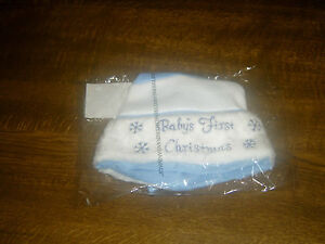 NEW BABY FIRST CHRISTMAS HAT BLUE NOVELTY FLUFFY ONE SIZE