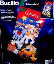 "Bucilla ""AWAY IN A MANGER"" Felt Christmas Stocking Kit NATIVITY Baby Jesus 83659"