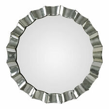 "Scalloped Venetian Round Mirror Framed Wall Mirror | 39"" Vanity Curved Glam"