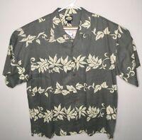Tommy Bahama Mens 100% Linen Gray And White Floral Hawaiian Shirt Size XL