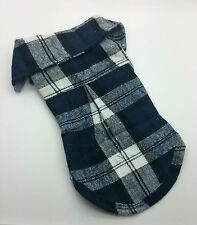 SMALL 27CM NAVY BLUE CHECK DOG TOP SHIRT JUMPER CHIHUAHUA YORKIE PUPPY TOY JACK