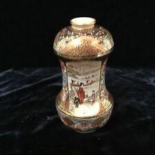 """antique Japanese satsuma pottery double gourd vase Meiji signed QUALITY 5.25"""""""