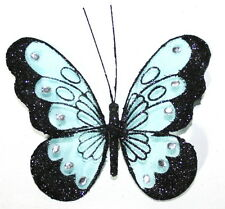 Large Black & Blue Glitter Jewelled Net Decorative Clip Butterfly 18cm Wedding